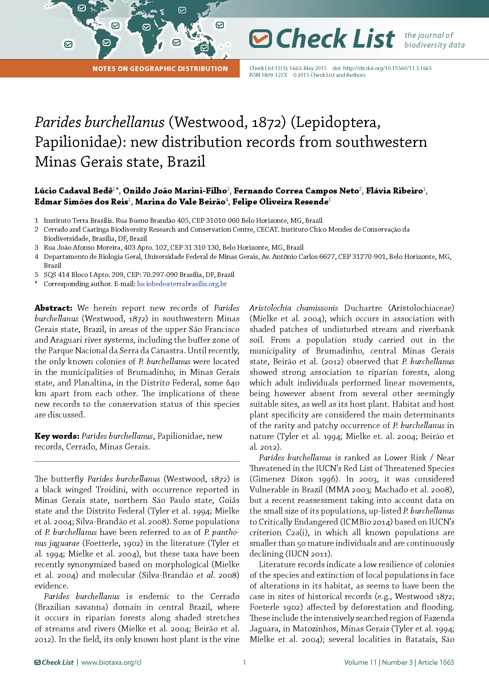 Capa da Parides burchellanus (Westwood, 1872) (Lepidoptera, Papilionidae): new distribution records from southwestern Minas Gerais state, Brazil